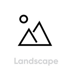 landscape icon editable stroke vector image