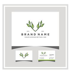 Letter v leaf logo design with a business card vector
