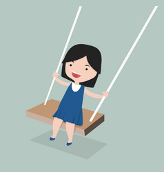 little girll playing in a swing vector image