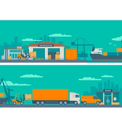 Logistic concept flat banner production process vector image