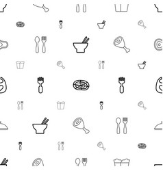 Lunch icons pattern seamless white background vector