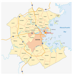 map of the greater boston metropolitan region vector image