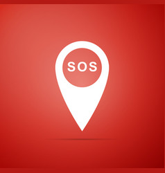 Marker location with sos icon on red background vector