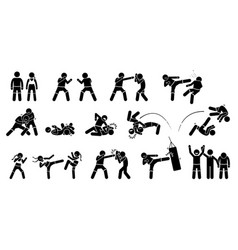 mma mixed martial arts actions pictogram depicts vector image