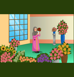 Muslim florist working at store vector