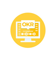 okr icon with computer vector image