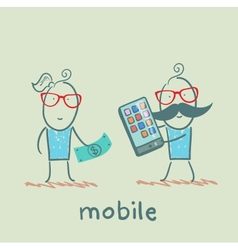 People selling mobile girl vector