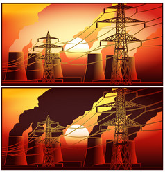 power station at sunset vector image