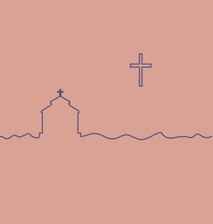 Protestant temple and cross vector