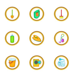 Purification icons set cartoon style vector