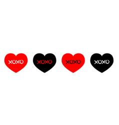red black heart line icon set xoxo phrase sketch vector image