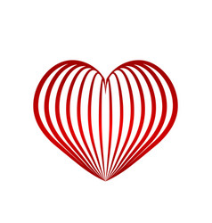 red heart symbol love from ribbon stock vector image