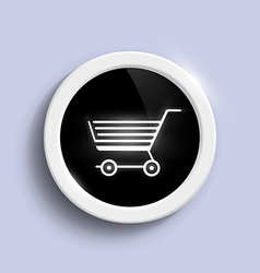 round button with a shopping trolley vector image