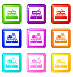 Sale cash register set 9 vector