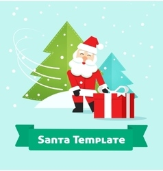 Santa Claus with gift Merry Christmas New Year vector