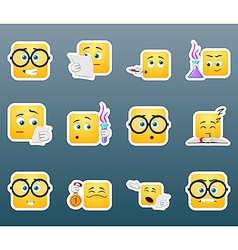 Scientist smile stickers set vector image