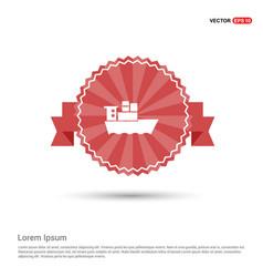 sea ship icon - red ribbon banner vector image