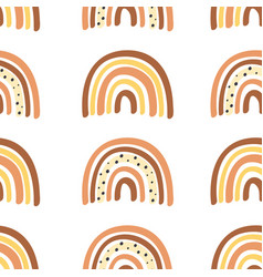 seamless pattern with burnt orange rainbow vector image