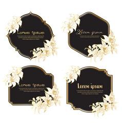 set hand drawn floral frame geometric frame vector image