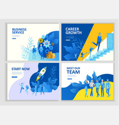 Set landing page template people business vector