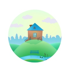 small cute house on the hills vector image