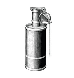 Smoke grenade hand draw vintage style black and vector