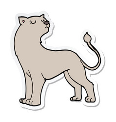 Sticker of a cartoon lioness vector