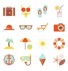 Summer vacation color beach resort accessorize vector image