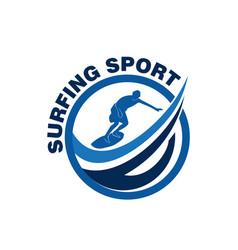 surfing sport logo vector image