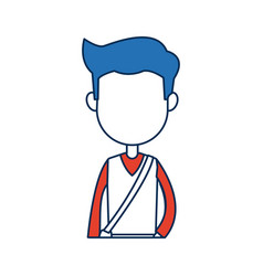 Teenager boy student cartoon in blue and orange vector