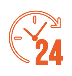 Time 24 hours service isolated icon vector