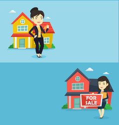 Two real estate banners with space for text vector
