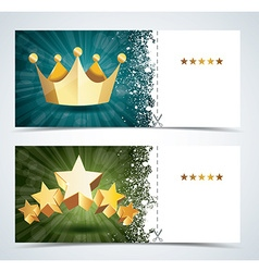 Voucher premium template with gold crown and gold vector