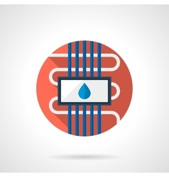 Water floor heating round color flat icon vector