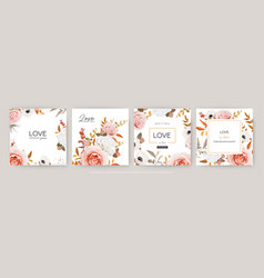 Watercolor floral wedding invite greeting card set vector