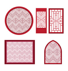 Window and door with asian pattern vector