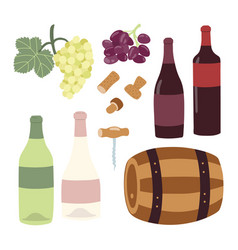 winemaking hand drawing set wine bottles grape vector image