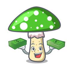 with money bag green amanita mushroom mascot vector image