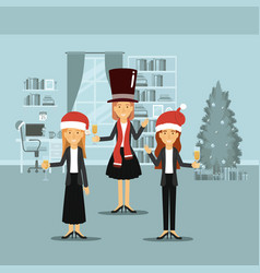 Women in formal clothes celebrating christmas with vector