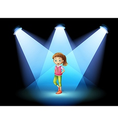 A stage with a young woman at the center vector image vector image