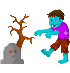 cartoon zombie walking in cemetery vector image