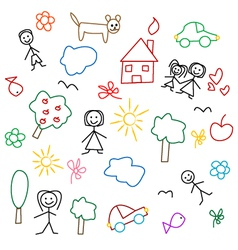 Children drawing seamless pattern vector image vector image