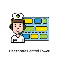 healthcare control tower colorful icon with nurse vector image vector image