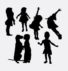 kid playing action silhouette vector image