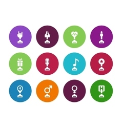 Trophy cup circle icons on white background vector image vector image