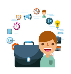 business people briefcase work office icons vector image