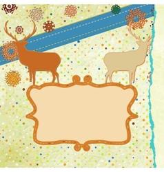 Christmas deer tempate card EPS 8 vector image vector image