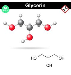 glycerol chemical formula and 3d model vector image vector image