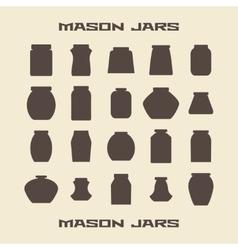 Mason jars silhouette icons set vector image