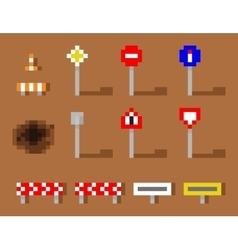 Pixel Art Road Sign Icon set brown road vector image vector image